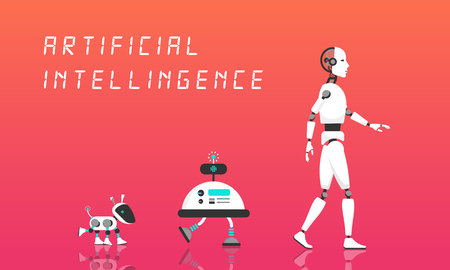 Modern Robot and artificial intelligence. Ilustrace