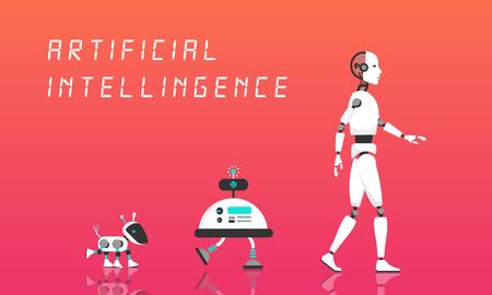 Moderne robot en kunstmatige intelligentie. Stock Illustratie