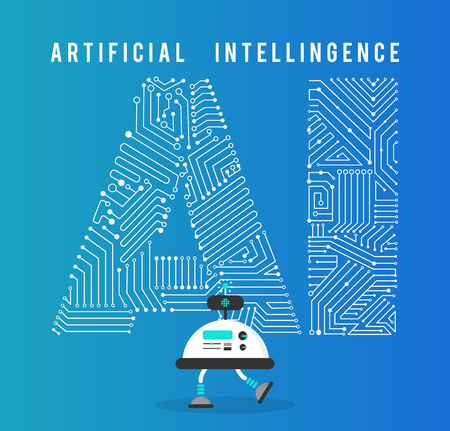 Robot with intelligence artificia concept.