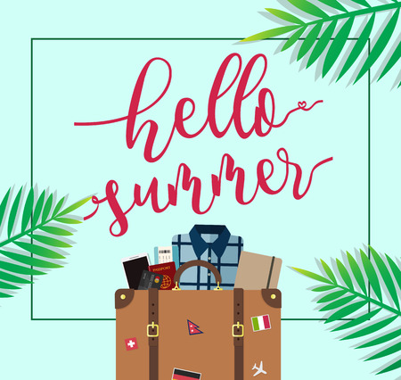 creditcard: Hello Summer travel luggage with tropical background Illustration