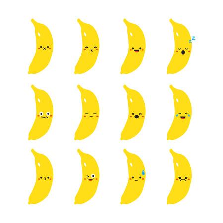 バナナのモダンなフラット絵文字セット  イラスト・ベクター素材
