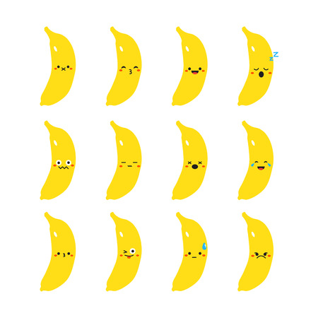 Banana modern flat emoticon set