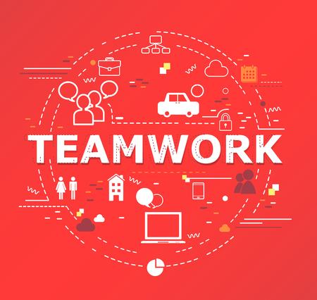 Creative illustration of Teamwork word lettering typography. Illustration