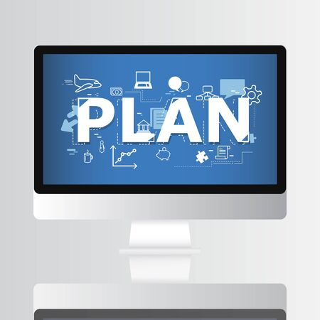 Plan Graphic on Computer Screen Concept. Stock Photo