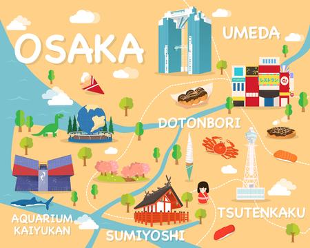 오사카 명소 벡터 및 일러스트지도. 일러스트