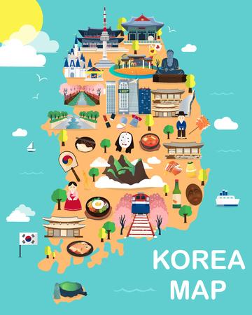Kaart Van Korea Attracties Vector En Illustratie. Stock Illustratie