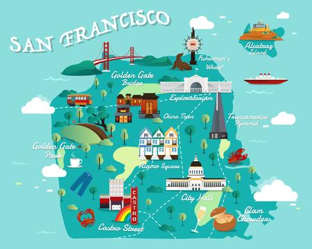 샌프란시스코 관광 명소 벡터 및 그림의지도. 일러스트