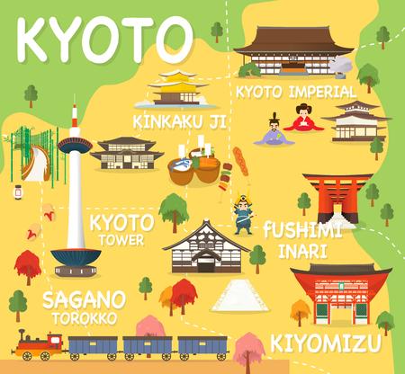 Kaart van Kyoto Attracties Vector En Illustratie.