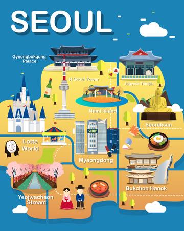 Carte de vecteur et illustration d'attractions de Séoul. Vecteurs