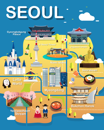 Map Of Seoul Attractions Vector And Illustration.
