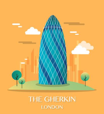 gherkin building: Famous London Landmark The Gherkin Illustration. Illustration