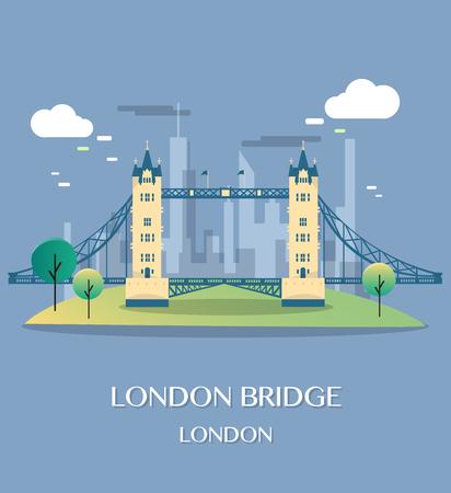 english culture: Famous London Landmark London Bridge Illustration.