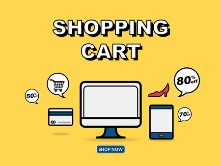 smart card: Graphic Illustration For Online Shopping Concept