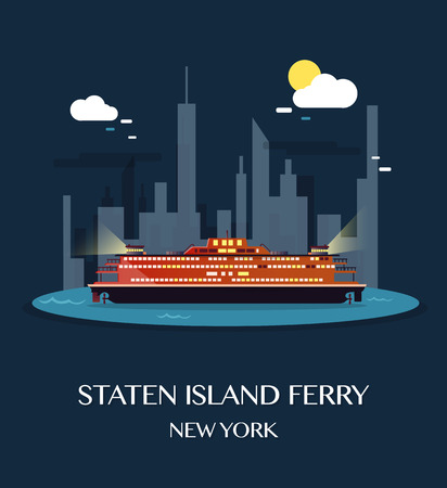 Staten Island Ferry.Vector Illustration.