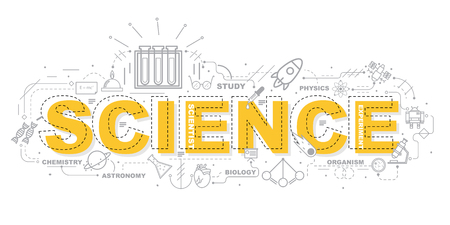 Concept de design de Word SCIENCE Bannière de site Web. Vecteurs