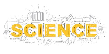 Ontwerpconcept van Word SCIENCE Website Banner. Stock Illustratie