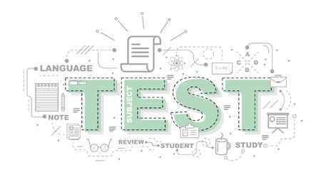 computer education: Design Concept Of Word TEST Website Banner.