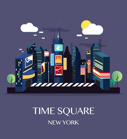 new york city times square: Time Square New York.Vector Illustration.