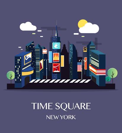 Time Square w Nowym Jorku. Ilustracja wektorowa.
