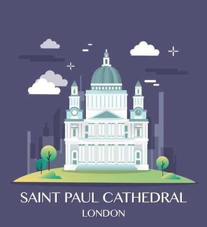 st pauls: Famous London Landmark Saint Paul Illustration.