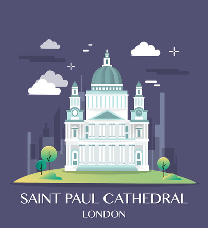 Famous London Landmark Saint Paul Illustration.