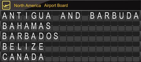 antigua: North America Country Airport Board Information Stock Photo