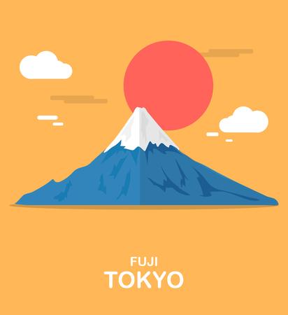 Fuji mouthain gorgeous place in Tokyo illustration design Illustration
