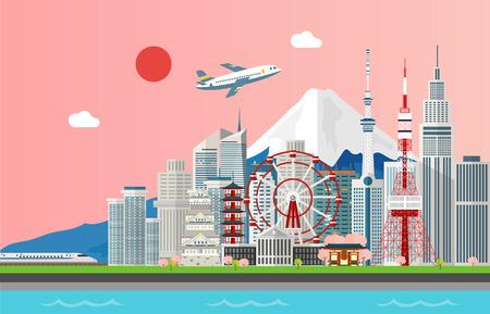 Attrazioni turistiche stupefacenti per viaggiare nella progettazione dell'illustrazione di Tokyo Giappone