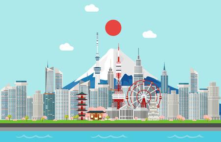 Verbazingwekkende toeristenattracties voor het reizen in de illustratieontwerp van Tokyo Japan