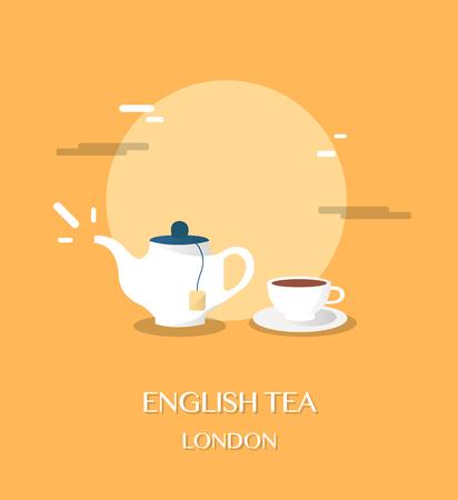 English tea at museum in London illustration design