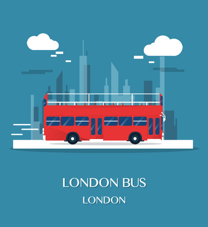 London bus at museum in English illustration design