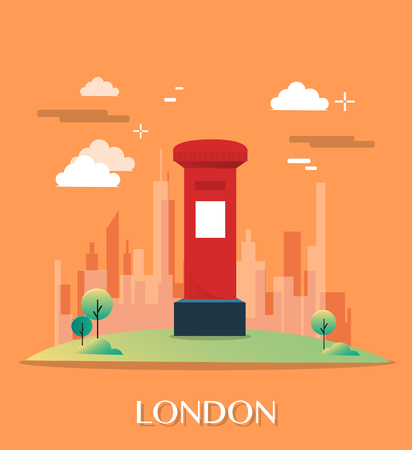 post office building: The red post office in London illustration design Illustration
