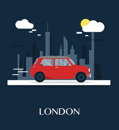 The red car at London museum illustration design