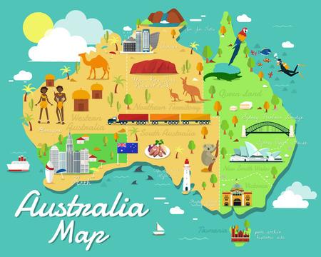オーストラリア地図にカラフルなランドマークのイラスト デザイン