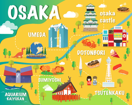 Osaka map with colorful landmarks Japan illustration design 矢量图像