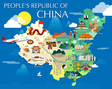 Peoples republic of China map with colorful landmarks illustration design