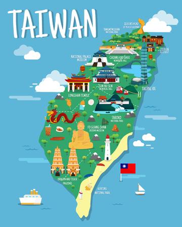 Colorfaul ランドマークのイラスト デザインと台湾地図