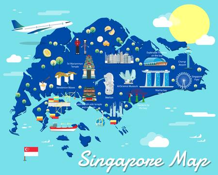 シンガポール地図にカラフルなランドマークのイラスト デザイン