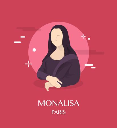 파리 배경 Monalisa 그림 일러스트