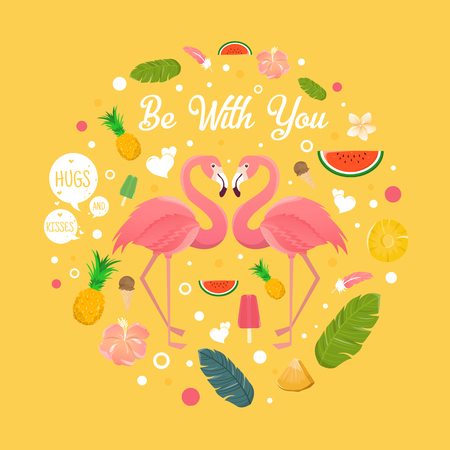 Flamingo couple in summer with many fruits illustration