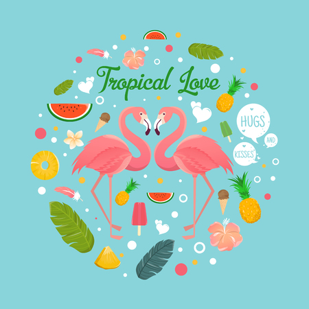 Flamingo couple in summer tropical love illustration Illustration