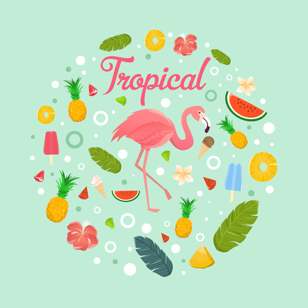 Flamingo with delicious fruits and desserts in summer  light green background  illustration