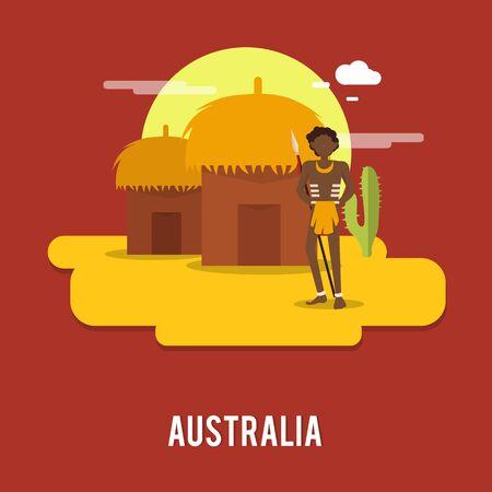 Aborigine historic people Australia illustration design