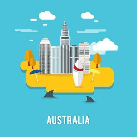 Perth capital city populous city in Australia illustration design