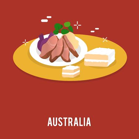 Delicious food including cake and vegetables Australia illustration design