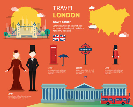 English map for traviling in London illustration design