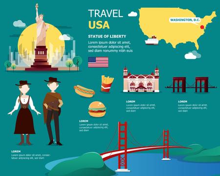 USA Karte und Sehenswürdigkeiten für Reisen in Vereinigte Staaten von Amerika Illustration Design Standard-Bild - 80950432