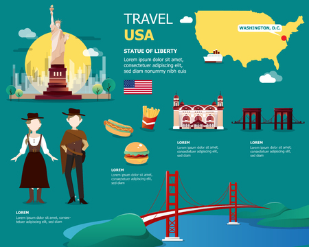 USA map and landmarks for traveling in United State of America illustration design Ilustracja