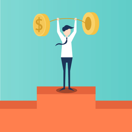 lift up: Weightlifting symbol for business growth illustration