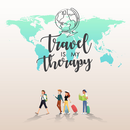Traveling around the word with friends illustration design